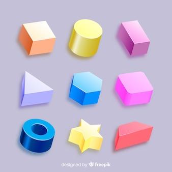 Kolekcja trójwymiarowych kształtów geometrycznych