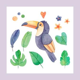 Kolekcja tropikalna: egzotyczne kwiaty, tukan, liście tropikalne. jasny zestaw akwareli