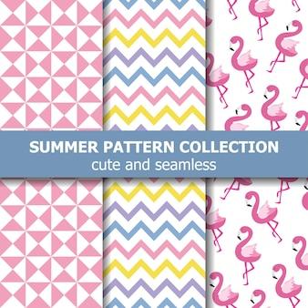 Kolekcja tropikalne lato wzór. motyw flaminga, transparent lato. wektor