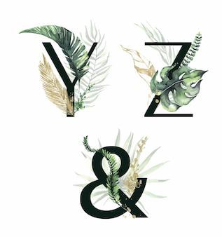 Kolekcja tropikalny kwiatowy alfabet