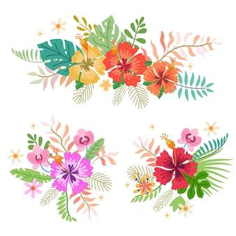 Kolekcja tropikalnych kwiatów