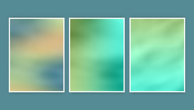 Kolekcja trzech abstrakcyjnych, niewyraźnych projektów okładek