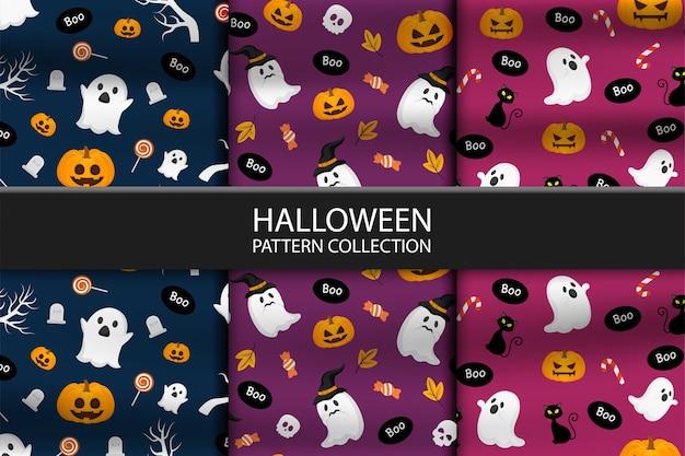 Kolekcja trzech różnych wzorów halloween
