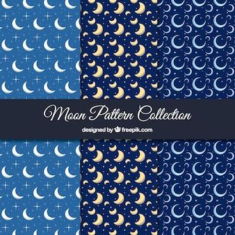 Kolekcja trzech wzorów z księżyców w płaskiej konstrukcji
