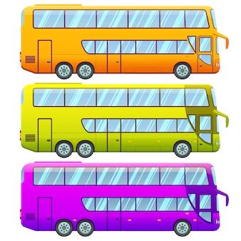 Kolekcja turystycznych autobusów wycieczkowych dwupokładowych