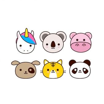Kolekcja twarz cute zwierząt