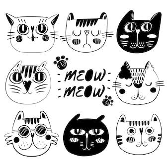 Kolekcja twarzy kotów