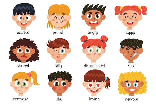 Kolekcja twarzy ładnych dzieci różne emocjonalne wyrażenia dzieci