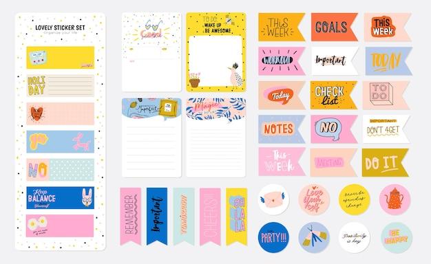 Kolekcja tygodniowego lub dziennego terminarza, papieru do notatek, listy rzeczy do zrobienia, szablonów naklejek ozdobionych ilustracjami dla dzieci i inspirującym cytatem. planista i organizator szkoły