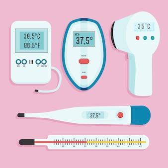 Kolekcja typów termometrów płaskich