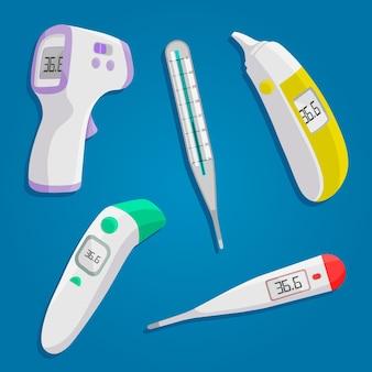 Kolekcja typów termometrów