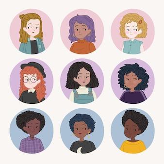 Kolekcja typów włosów kręconych ręcznie rysowane