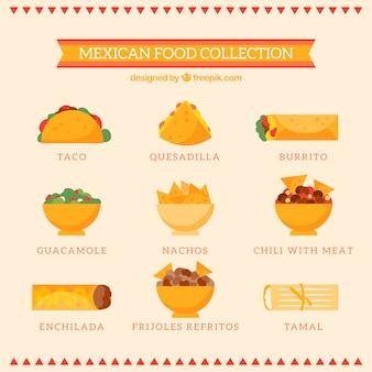 Kolekcja typowej kuchni meksykańskiej
