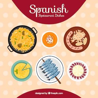 Kolekcja typowych potraw hiszpańskich
