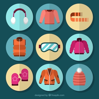 Kolekcja ubrań zimowych i akcesoriów w płaskiej konstrukcji