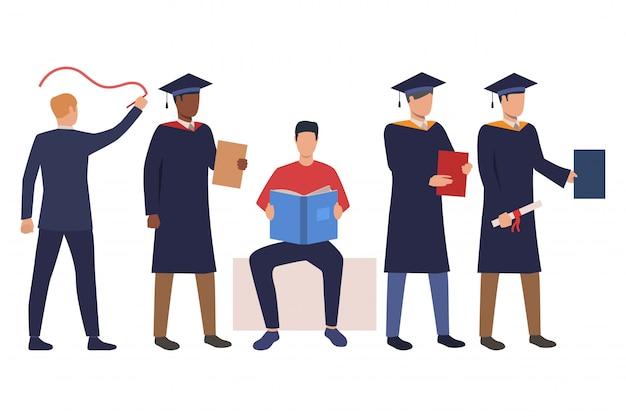 Kolekcja udanych studentów w strojach akademickich