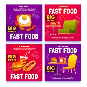 Kolekcja ulotek fast food z kreskówek