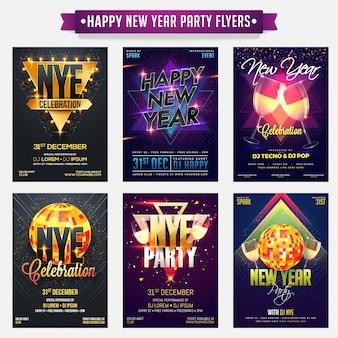 Kolekcja ulotek lub banerów szczęśliwego nowego roku.