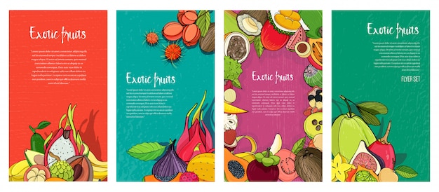 Kolekcja ulotek z egzotycznymi owocami tropikalnymi. pionowe tła z miejscem na tekst.