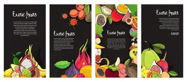 Kolekcja ulotek z egzotycznymi owocami tropikalnymi.