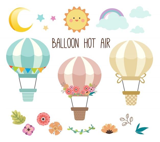 Kolekcja uroczego zestawu balonów na ogrzane powietrze.