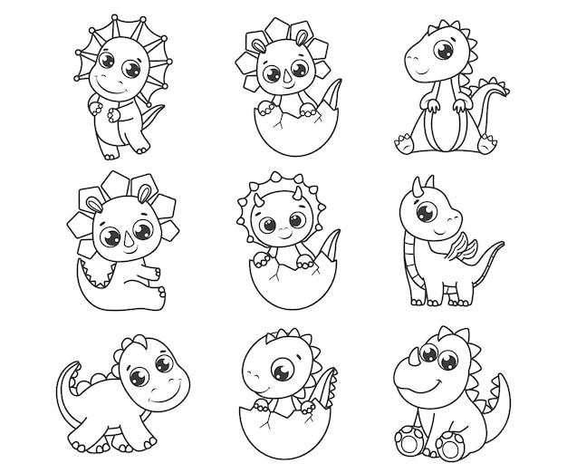 Kolekcja uroczych dinozaurów z kreskówek. czarno-biały ilustracja wektorowa dla kolorowanka. rysunek konturowy.