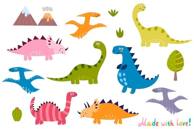 Kolekcja uroczych dinozaurów. zestaw elementów na białym tle