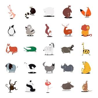 Kolekcja uroczych ilustracji zwierząt dzikich