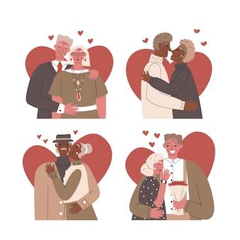 Kolekcja uroczych ilustrowanych par starszych