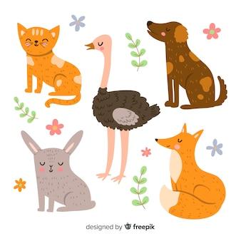 Kolekcja uroczych ilustrowanych zwierząt