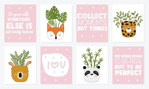 Kolekcja uroczych kartek z roślinami domowymi w zabawnych doniczkach ze zwierzętami