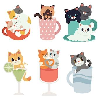 Kolekcja uroczych kotów siedzących w kubkach, winie i kieliszku koktajlowym