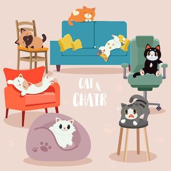 Kolekcja uroczych kotów z zestawem krzeseł. jakiś kot wygląda na szczęśliwego, przerażającego i relaksującego.