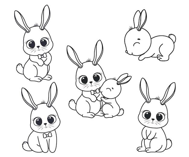 Kolekcja uroczych królików kreskówek. czarno-biały ilustracja wektorowa dla kolorowanka. rysunek konturowy.