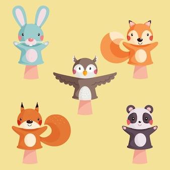 Kolekcja Uroczych Kukiełek Dla Dzieci Darmowych Wektorów