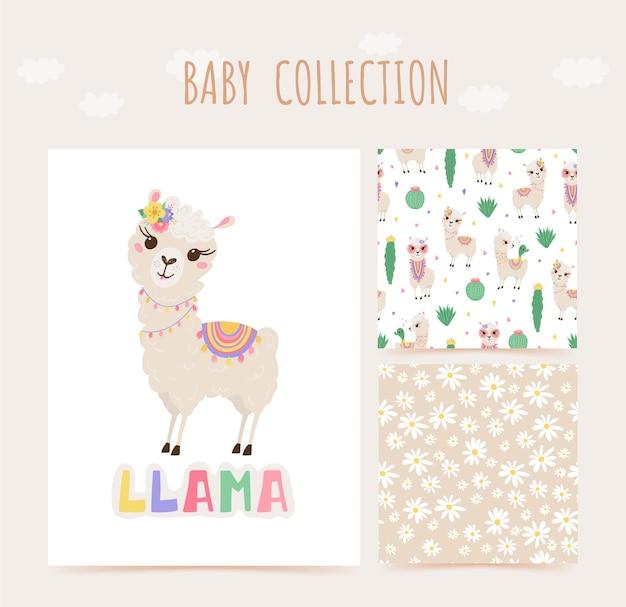 Kolekcja uroczych lamów i kaktusów w pastelowych kolorach. wzór i nadruk ze zwierzątkami.