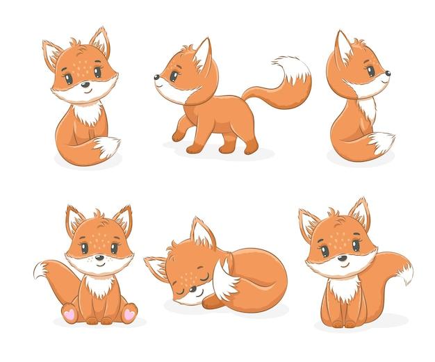 Kolekcja uroczych małych lisów. ilustracja wektorowa kreskówki.
