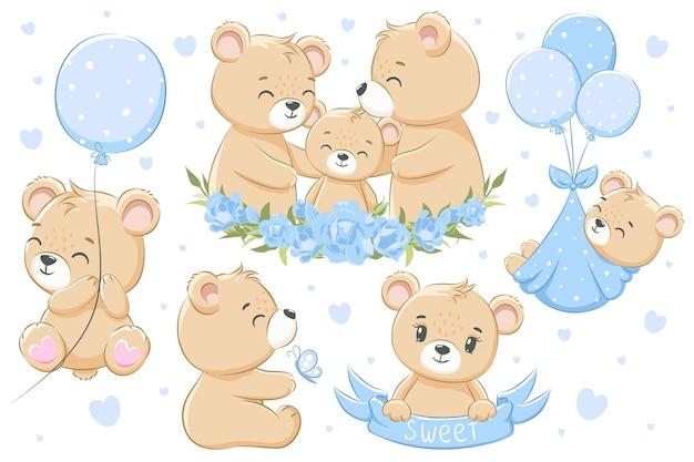 Kolekcja uroczych misiów rodzinnych dla chłopców. kwiaty, balony i serca. ilustracja kreskówka wektor.