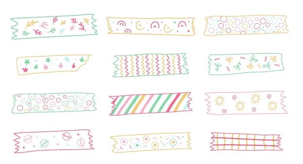 Kolekcja uroczych narysowanych taśm washi