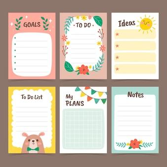 Kolekcja uroczych notatek i kart w notatniku