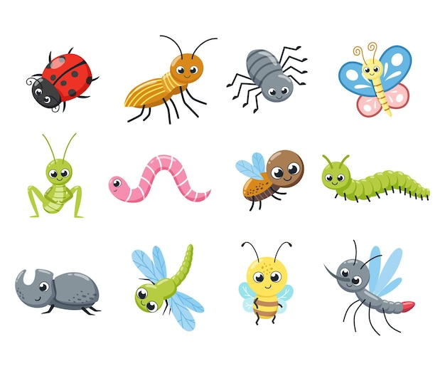 Kolekcja uroczych owadów. śmieszne robaki, gąsienica, mucha, pszczoła, biedronka, pająk, komar. ilustracja kreskówka wektor.