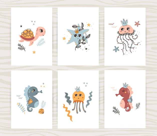 Kolekcja uroczych plakatów z żółwiem, meduzą i konikiem morskim.