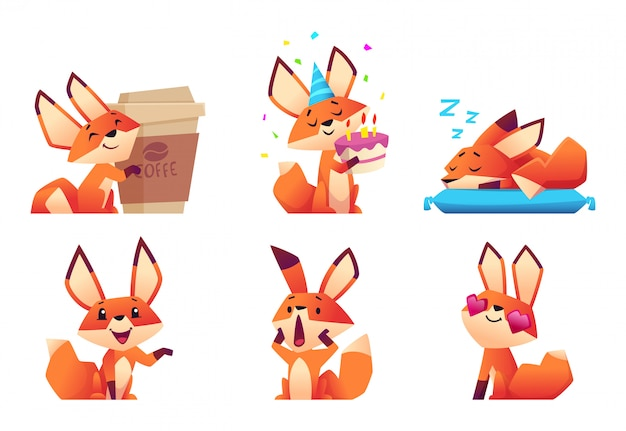 Kolekcja uroczych postaci lisa. dzikie pomarańczowe zwierzę w lesie w różnych śmieszne maskotki pozy i emocje