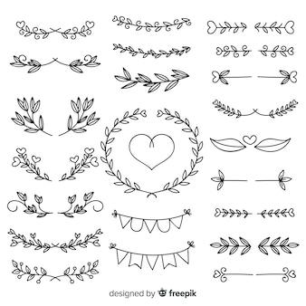 Kolekcja uroczych ręcznie rysowane ozdoby ślubne