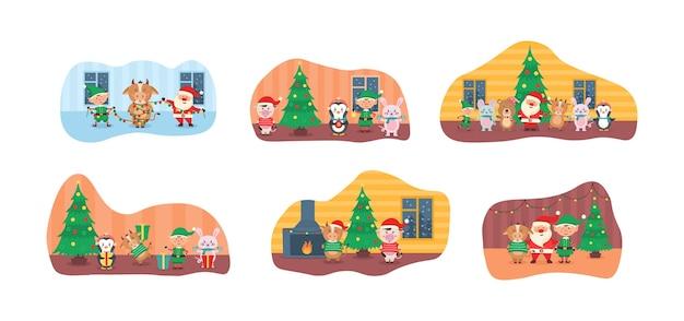 Kolekcja uroczych świątecznych postaci