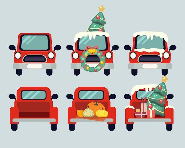 Kolekcja uroczych świątecznych samochodów lub ciężarówek w stylu płaskiej. zasób graficzny o wakacjach na tle, grafice, treści, banerze, etykiecie naklejki i kartce z życzeniami.
