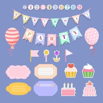 Kolekcja uroczych urodzinowych elementów notatnika