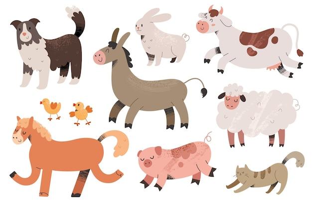 Kolekcja uroczych zwierząt gospodarskich