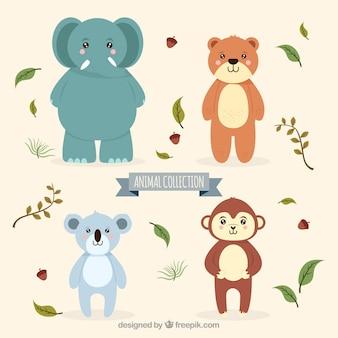 Kolekcja uroczych zwierząt i liści