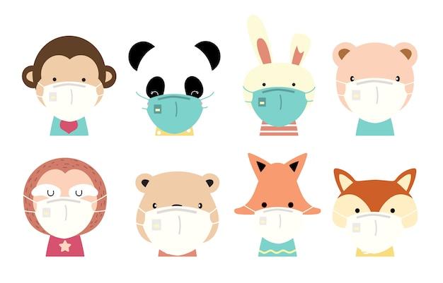 Kolekcja uroczych zwierzątek z żyrafą, lisem, pandą, małpą, królikiem, lenistwem, maską noszącą niedźwiedzia. ilustracja zapobiegania rozprzestrzenianiu się bakterii, koronawirusów